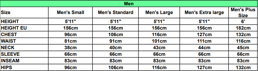 Men's Fancy Dress Size Guide