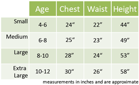 Kids Fancy Dress Size Guide