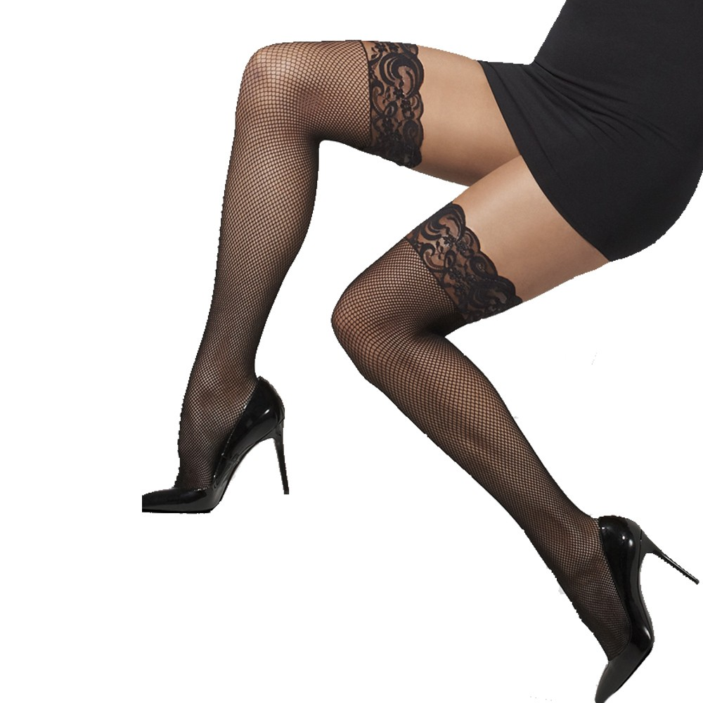 c72cd6cae6d Black Fishnet Lace Top Hold Ups - Fancy Dress and Party