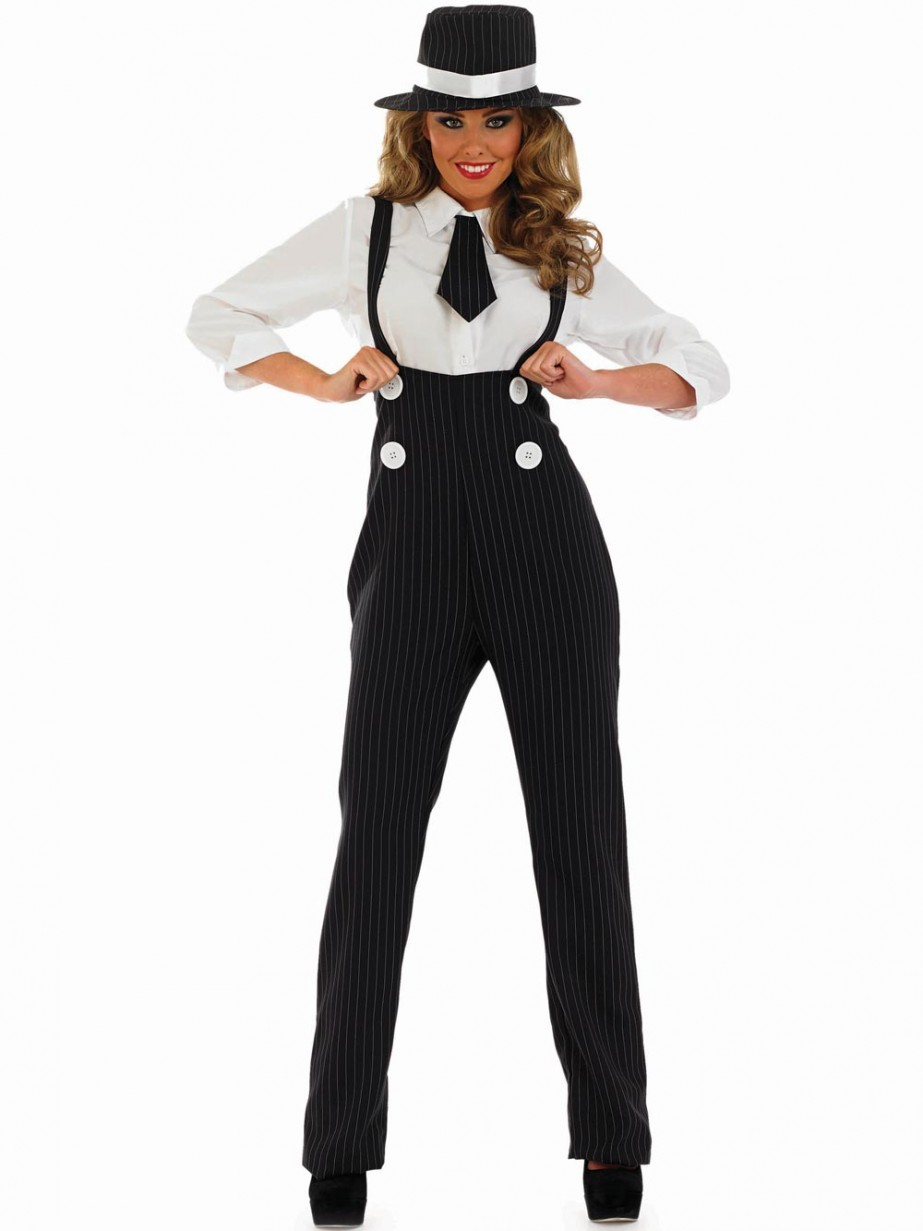 Black Gangster Girl Costume Fancy Dress And Party