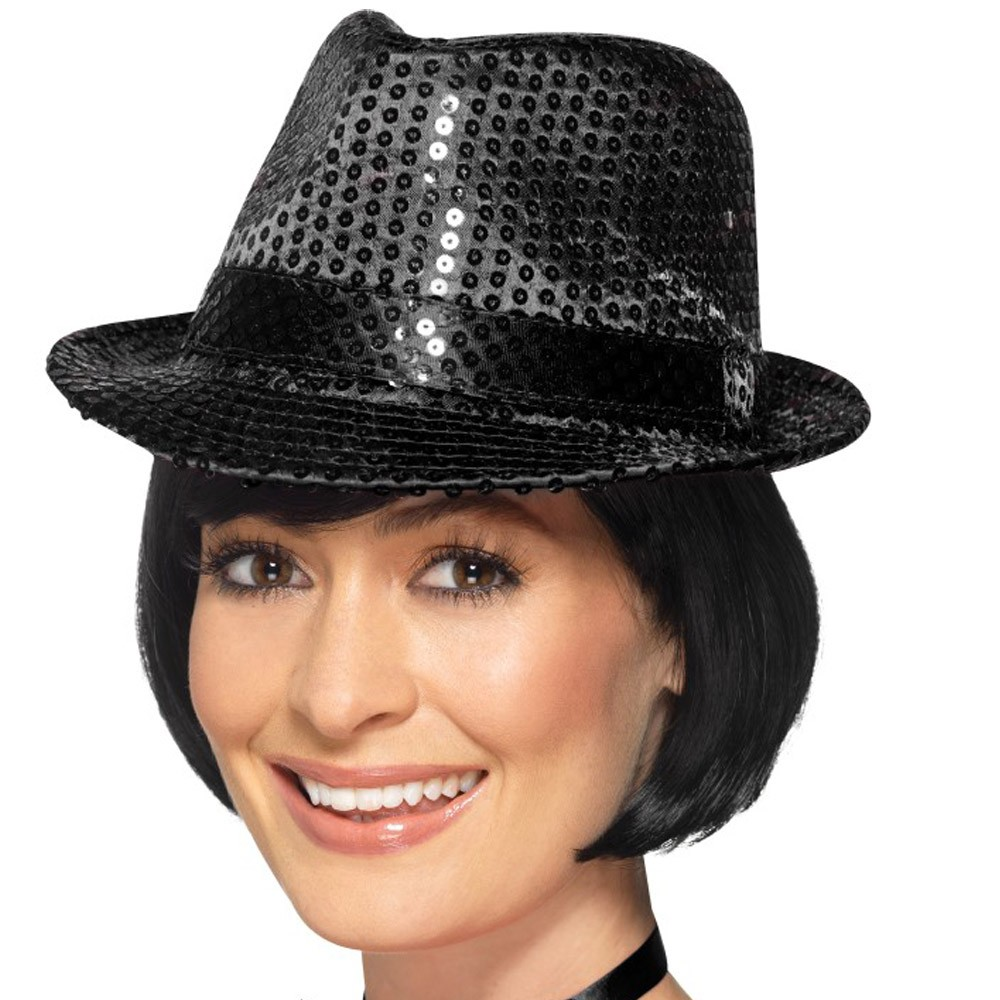 Black Sequin Trilby Hat - Fancy Dress and Party 41d684b8ef51