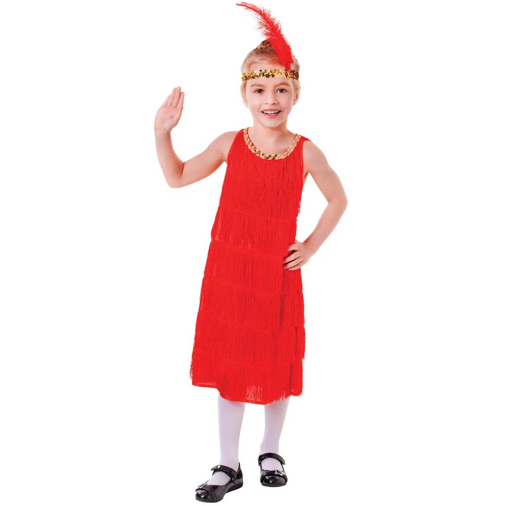 7ab5f633b1e Girls Red Flapper Costume - Fancy Dress and Party