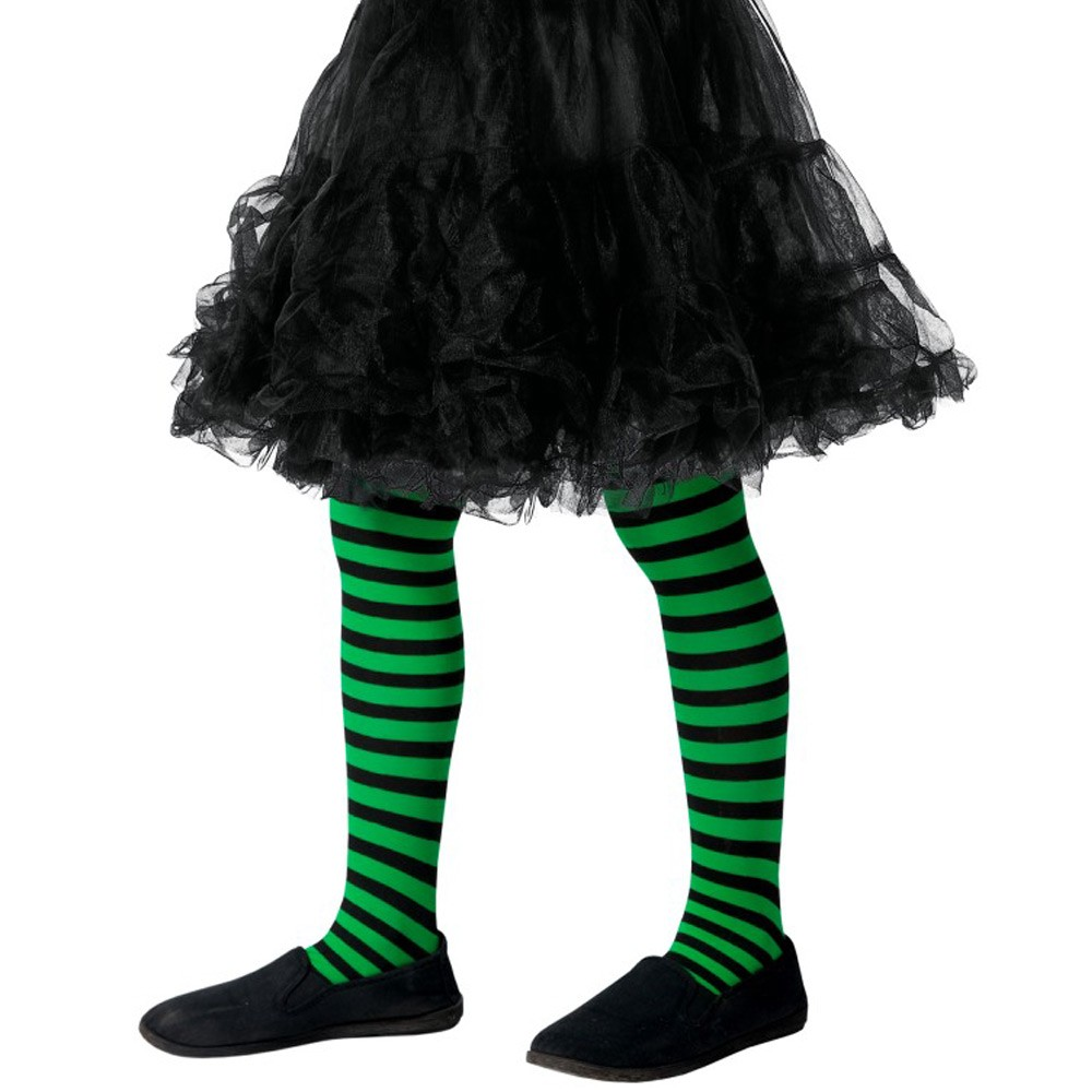 816c8a88f26c2 Childs Horizontal Black and Green Striped Tights - Fancy Dress and Party