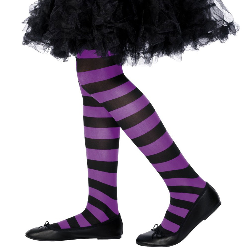 81ceb27153f8b Kids Purple and Black Striped Tights - Fancy Dress and Party
