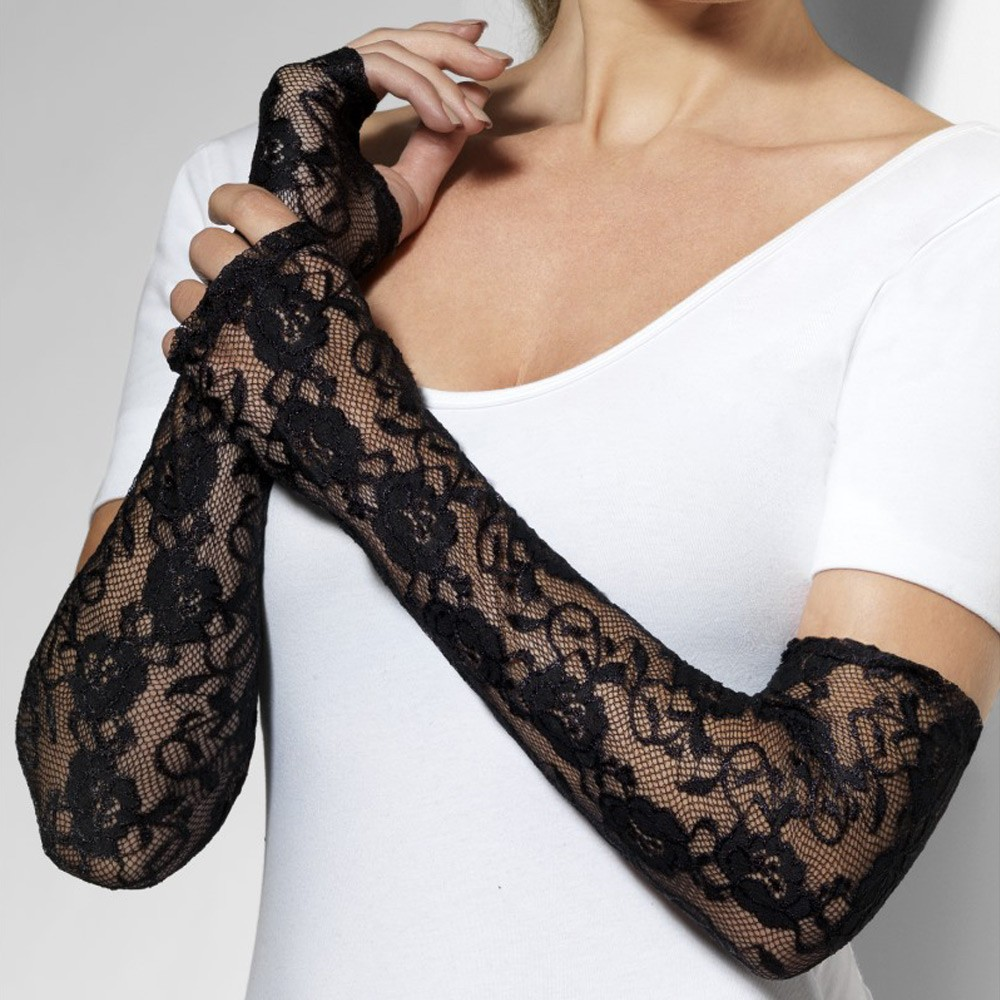 Long Black Lace Gloves - Fancy Dress and Party 28d9843a7