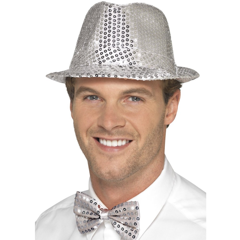 Silver Sequin Trilby Hat - Fancy Dress and Party 8bffa55940e4