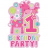 1st Birthday Invitations Girl at Fancy Dress and Party