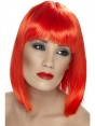 Short Neon Red Wig at Fancy Dress and Party