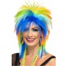 80s Rainbow Punk Wig Front View at Fancy Dress and Party