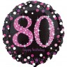 Black and Pink 80th Birthday Balloon at Fancy Dress and Party