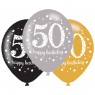 Black, Gold and Silver 50th Birthday Balloons at Fancy Dress and Party