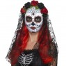 Day of the Dead Bride Mask with Veil at Fancy Dress and Party