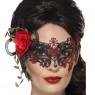 Filigree Masquerade Mask with Rose at Fancy Dress and Party