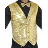 Gold Sequin Waistcoat Front View at Fancy Dress and Party