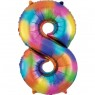 Large Rainbow Splash Number 8 Foil Balloon at Fancy Dress and Party