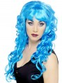 Long Curly Blue Wig at Fancy Dress and Party