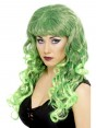 Long Curly Green Wig at Fancy Dress and Party
