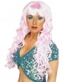 Long Curly Pink Wig at Fancy Dress and Party