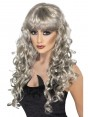 Long Curly Silver Wig at Fancy Dress and Party