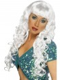 Long Curly White Wig at Fancy Dress and Party