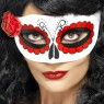 Mexican Day of the Dead Eye Mask with Rose Front View at Fancy Dress and Party
