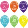Multi Coloured 30th Birthday Balloons at Fancy Dress and Party