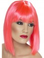 Short Neon Pink Wig at Fancy Dress and Party