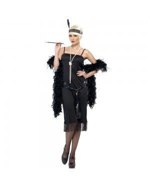 1920s Black Flapper Costume Front View at Fancy Dress and Party