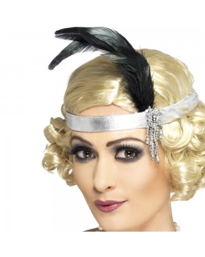 1920s Silver Headband at Fancy Dress and Party