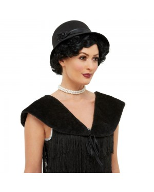 20s Black Hat and Stole at Fancy Dress and Party