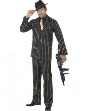20s Gold Gangster Costume Front at Fancy Dress and Party