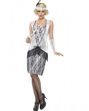 20s Silver Flapper Outfit Front at Fancy Dress and Party