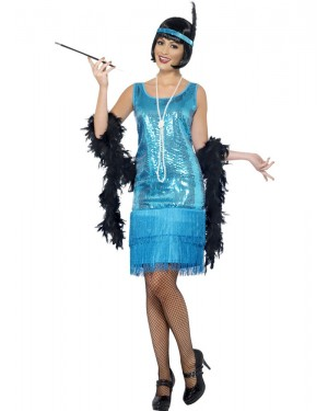 20s Teal Flapper Costume Front at Fancy Dress and Party