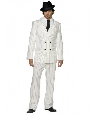 20s White Gangster Suit Front at Fancy Dress and Party