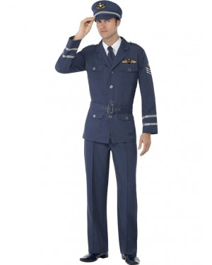 40s Air Force Captain Costume Front at Fancy Dress and Party