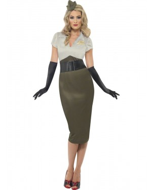 40s Army Darling Costume Front at Fancy Dress and Party