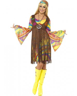 60s Hippie Lady Front at Fancy Dress and Party
