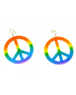 60s Hippie Peace Earrings at Fancy Dress and Party