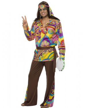60s Psychedelic Hippie Costume Front at Fancy Dress and Party