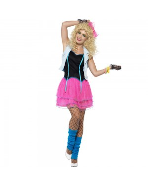 80s Pink Wild Girl Costume Front View at Fancy Dress and Party