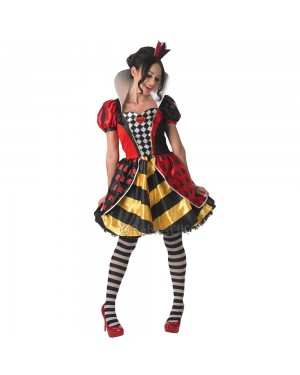Alice in Wonderland Red Queen Costume Front View at Fancy Dress and Party