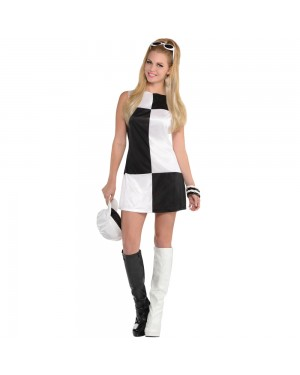 Black and White 60s Dress at Fancy Dress and Party