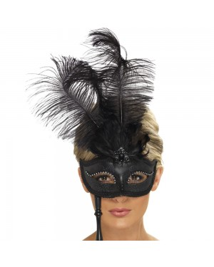 Black Baroque Fantasy Eyemask at Fancy Dress and Party