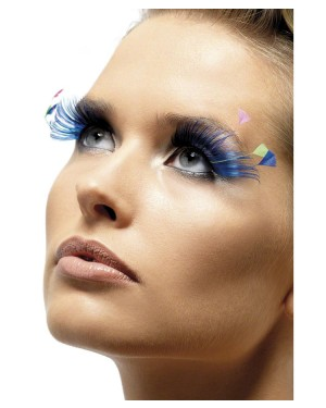 Black & Blue Eyelashes with Feather Plume