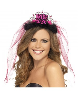 Black Bride to Be Tiara at Fancy Dress and Party
