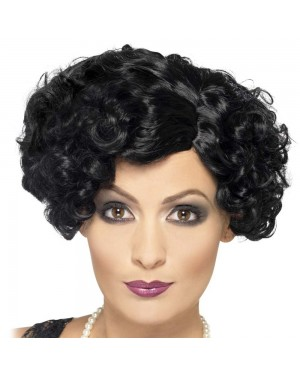 Black Flirty Flapper Wig at Fancy Dress and Party