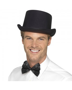 Black Satin Look Top Hat at Fancy Dress and Party