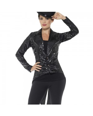Black Womens Tailcoat Front View at Fancy Dress and Party