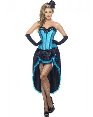 Blue Burlesque Costume Front View at Fancy Dress and Party