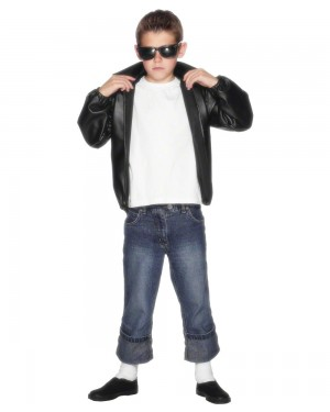 Boys Grease T Birds Jacket Front at Fancy Dress and Party
